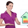 Stock Photo: Womwith energy rating sign