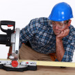 Man with a circular saw — Stock Photo #10196288