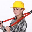 Woman with boltcutters — Stock Photo #10196403