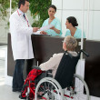 Stock Photo: Medical procedure for elderly invalid