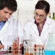 Two scientists in laboratory — Stock Photo