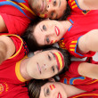 Spanish football fans - Stock Photo
