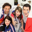 Excited french football fans — Stock Photo