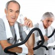 Stock Photo: 65 years old womand mdoing cardio training