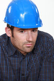 Portrait of tradesman lacking self-confidence — Stock Photo
