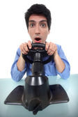 Man testing a car driving simulator — Stock Photo