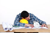 Draughtsman sleeping on the job — Stock Photo
