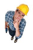 Pensive wood worker — Stock Photo