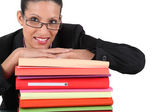 Secretary posing with a stack of files — Stock Photo