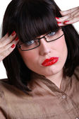 Funky woman with a rotten headache — Stock Photo