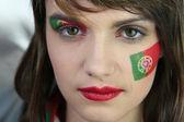 Female Portugal fan — Stock Photo