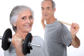 Senior couple doing fitness — Stock Photo