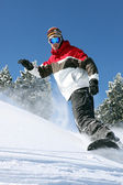 Snowboarder in action — Photo