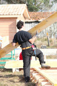 Construction of wooden house — Stock Photo