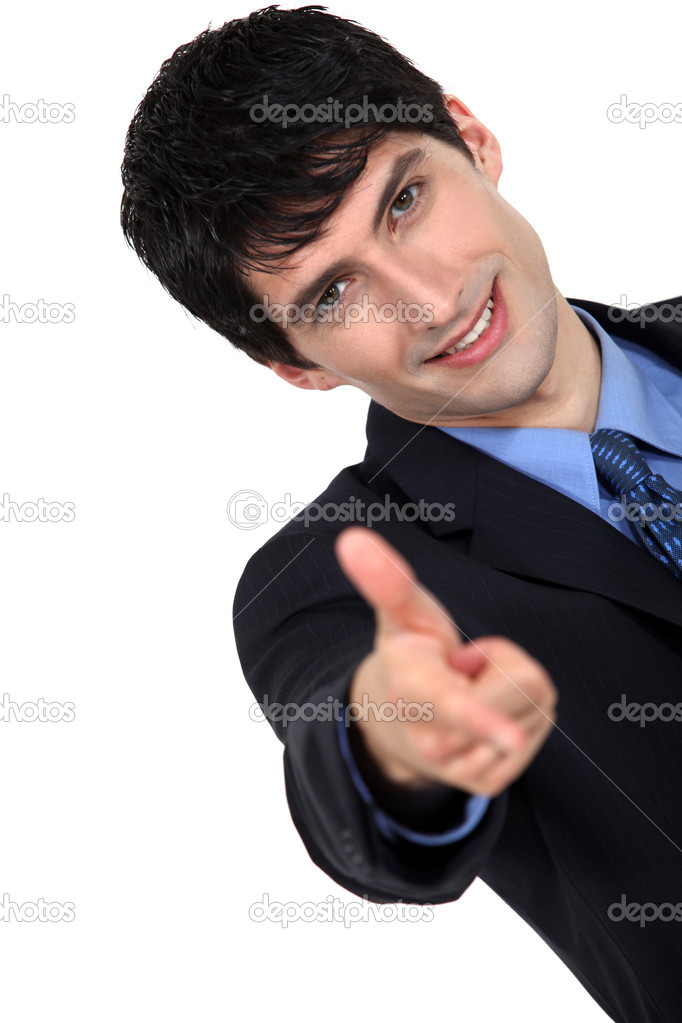 Man with finger pointing forward — Stock Photo #10194288