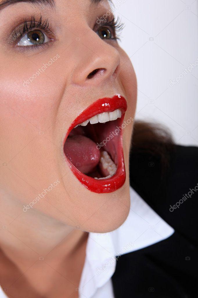 частное фото открыла рот