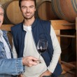 Winegrowers in warehouse — Stock Photo #10277952