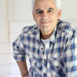 Grey haired handyman - Stock Photo