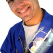 Electrician holding lamp - Foto Stock