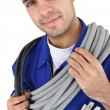 Portrait of young electrician — Stock Photo
