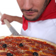 Stock Photo: Pizza chef
