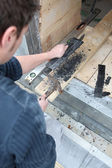 Joiner using hammer — Stock Photo