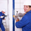 Two electricians' work — Stock Photo