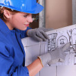 Stock Photo: Electrical installation drawing