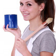Painter with blue pot and brush — Stock Photo #10323710