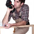 Woodworker thinking — Stock Photo #10325747