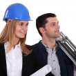 Stock Photo: Architect and her foreman.