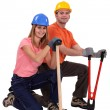 Married couple doing DIY — Stock Photo