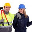 Male and female workers — Stock Photo