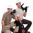 Duo of proud electricians — Stock Photo