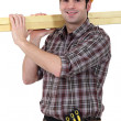 Stock Photo: Carpenter transporting wood