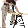 Man drilling wood - Stock Photo