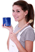 Painter with blue pot and brush — Stok fotoğraf