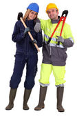 Couple of manual workers — Stock Photo