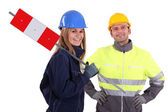 Man and woman construction workers — Stock Photo