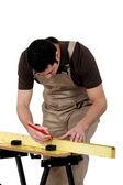 Adam ölçüm ahşap tahta — Stok fotoğraf