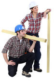 Male and female carpenters — Stock Photo