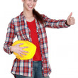 A female construction worker with the thumb up. — Stock Photo