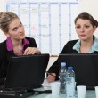 Foto Stock: Two businesswomen working at the office