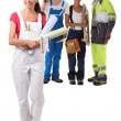 A happy apprentice building craft team — Stock Photo