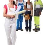 A happy apprentice building craft team — Stock Photo