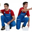 Two male decorators working in unison — Stock Photo #10349114