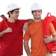 Two plumber friends - Stock Photo