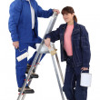 Painter with daughter — Stock Photo #10349236