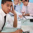 Foto Stock: Stressed business team