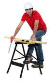 Craftsman cutting wood — Stock Photo